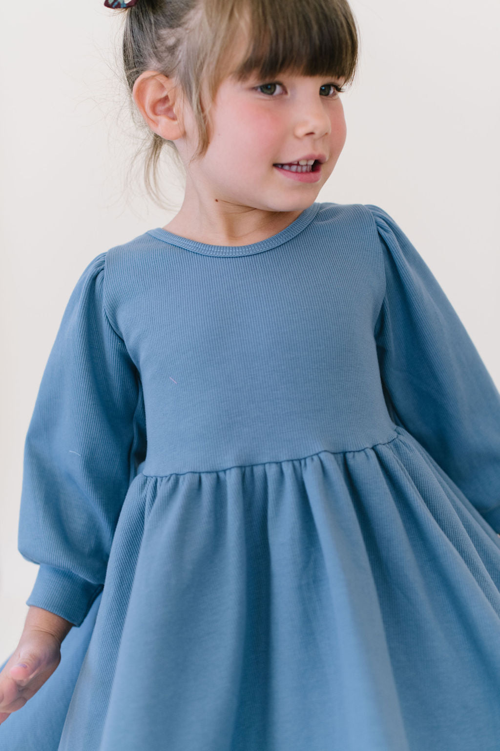 Harbor Blue Puff Sleeve Organic Cotton Rib Knit Twirly Dress