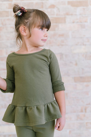 Loden Green Organic French Terry Peplum