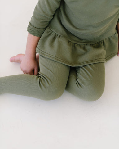 Loden Green Organic Rib Knit Leggings