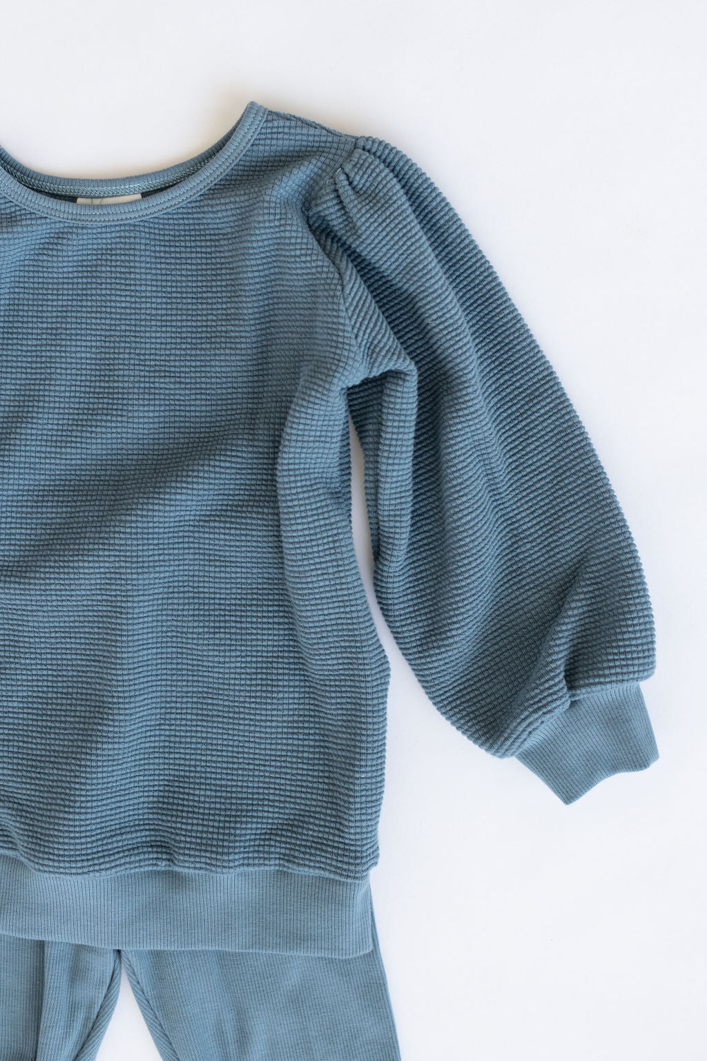 Harbor Blue Organic Waffle Puff Sleeve Pullover