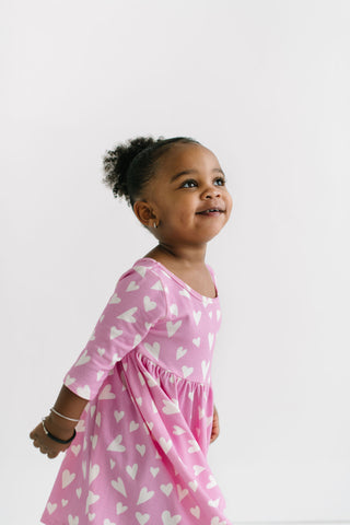 PREORDER Hearts in Darling Pink Three Quarter Sleeve Twirly Dress