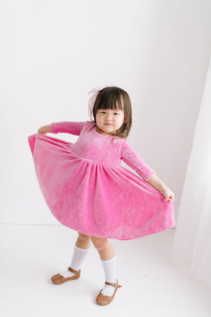 PREORDER Pink Bamboo Velour Three Quarter Sleeve Twirly Dress