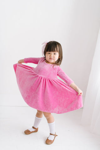 Perfect Pink Bamboo Velour Three Quarter Sleeve Twirly Dress
