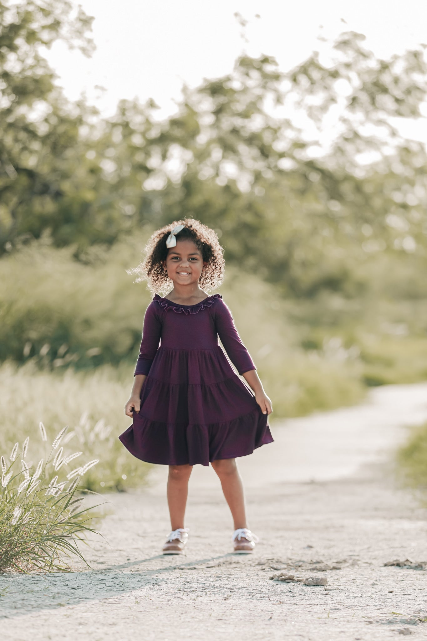 Plum Three Quarter Sleeve Ruffle Tiered Twirly Dress