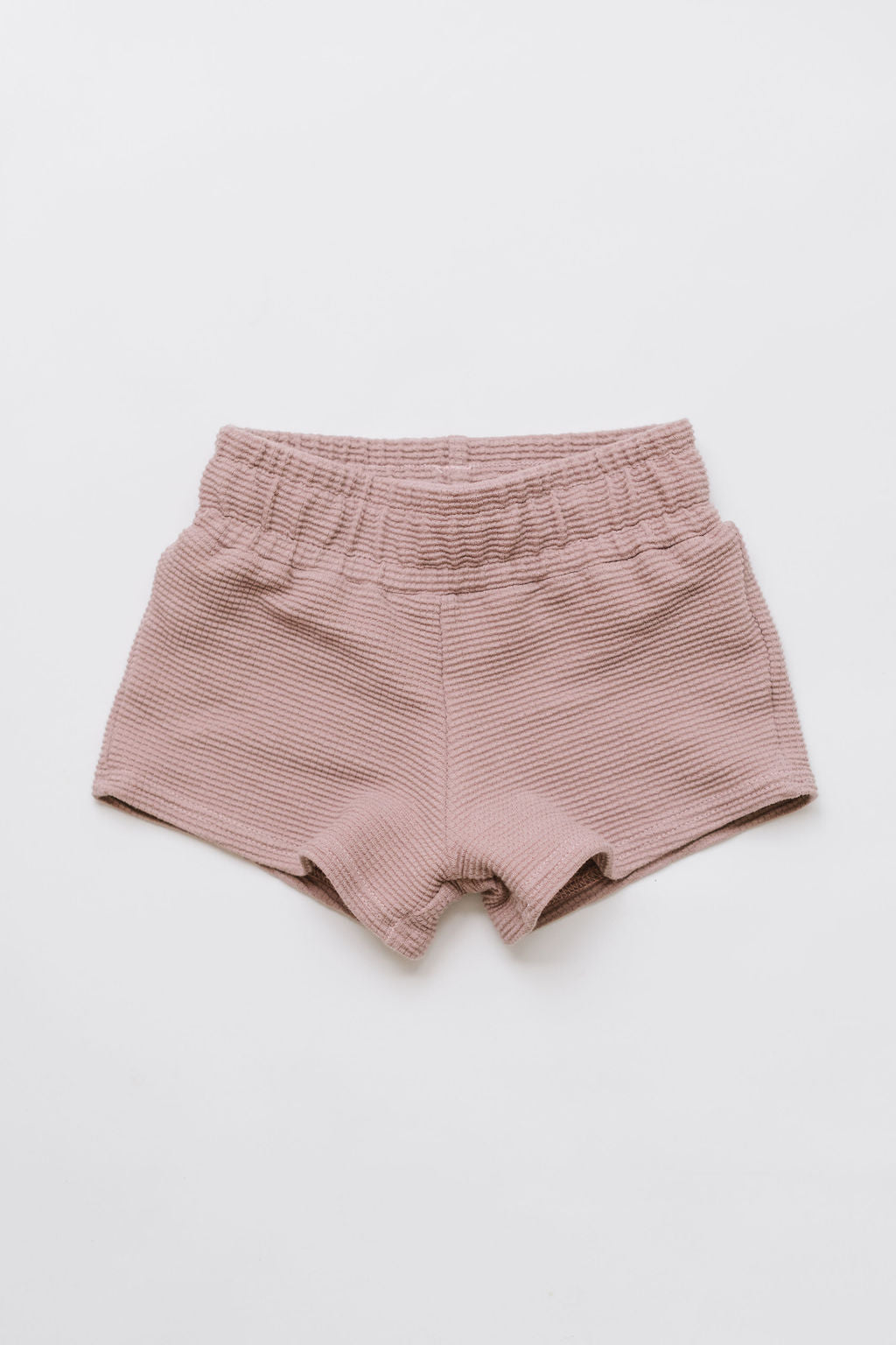 Play Shorts in Adobe Rose Organic Waffle Knit