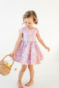 Orchid Bunnies and Daisies Cap Sleeve Twirly Dress