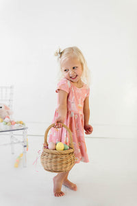 Quartz Pink Bunnies and Daisies Cap Sleeve Twirly Dress