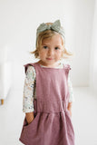 Ruffle Strap Pocket Pinafore in Heathered Rosewood