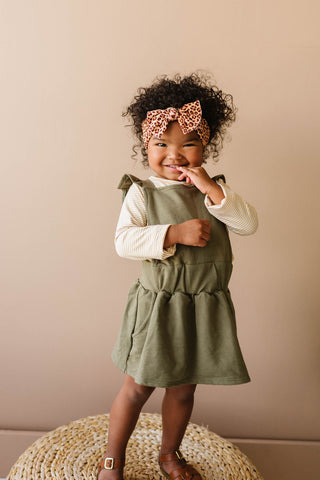 Ruffle Strap Pocket Pinafore in Olive