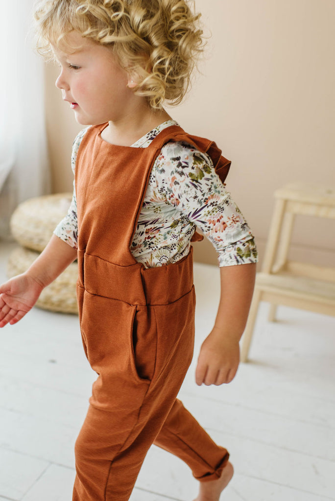 Ruffle Strap Pocket Overall in Toffee