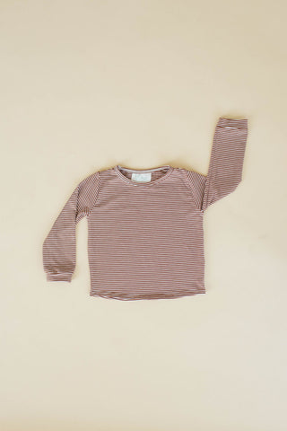 Toffee Stripe Long Sleeve T Shirt