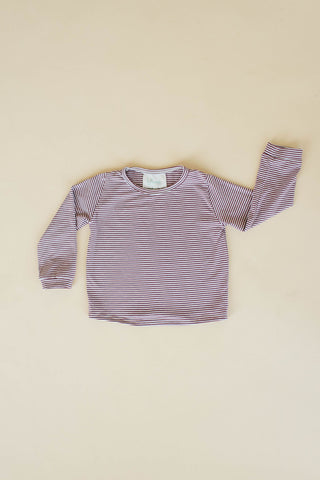 Rosewood Stripe Long Sleeve T Shirt