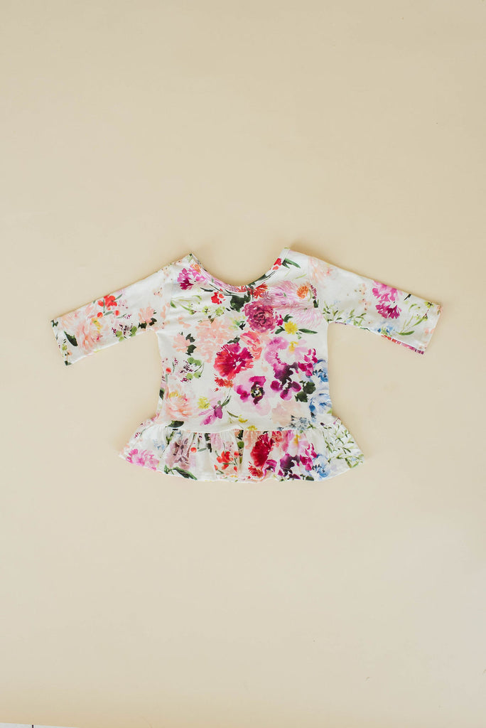 Watercolor Wildflower Three Quarter Sleeve Peplum Top