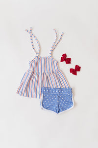 Vista Blue Dot Retro Shorts