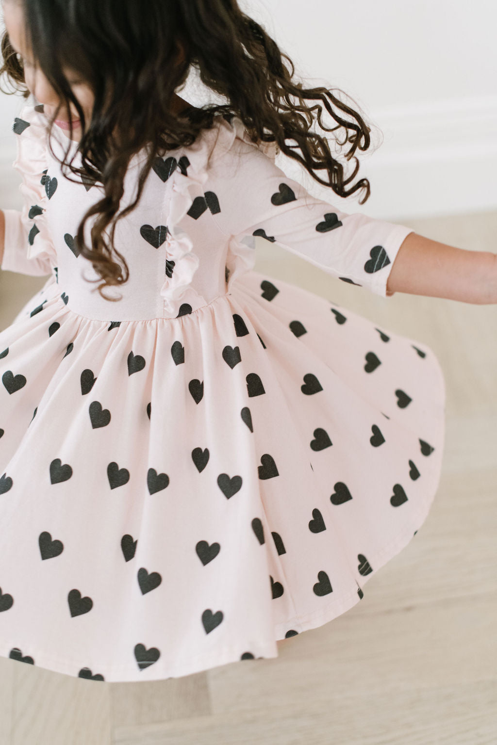 Black Heart Ruffle Bodice Three Quarter Sleeve Twirly Dress