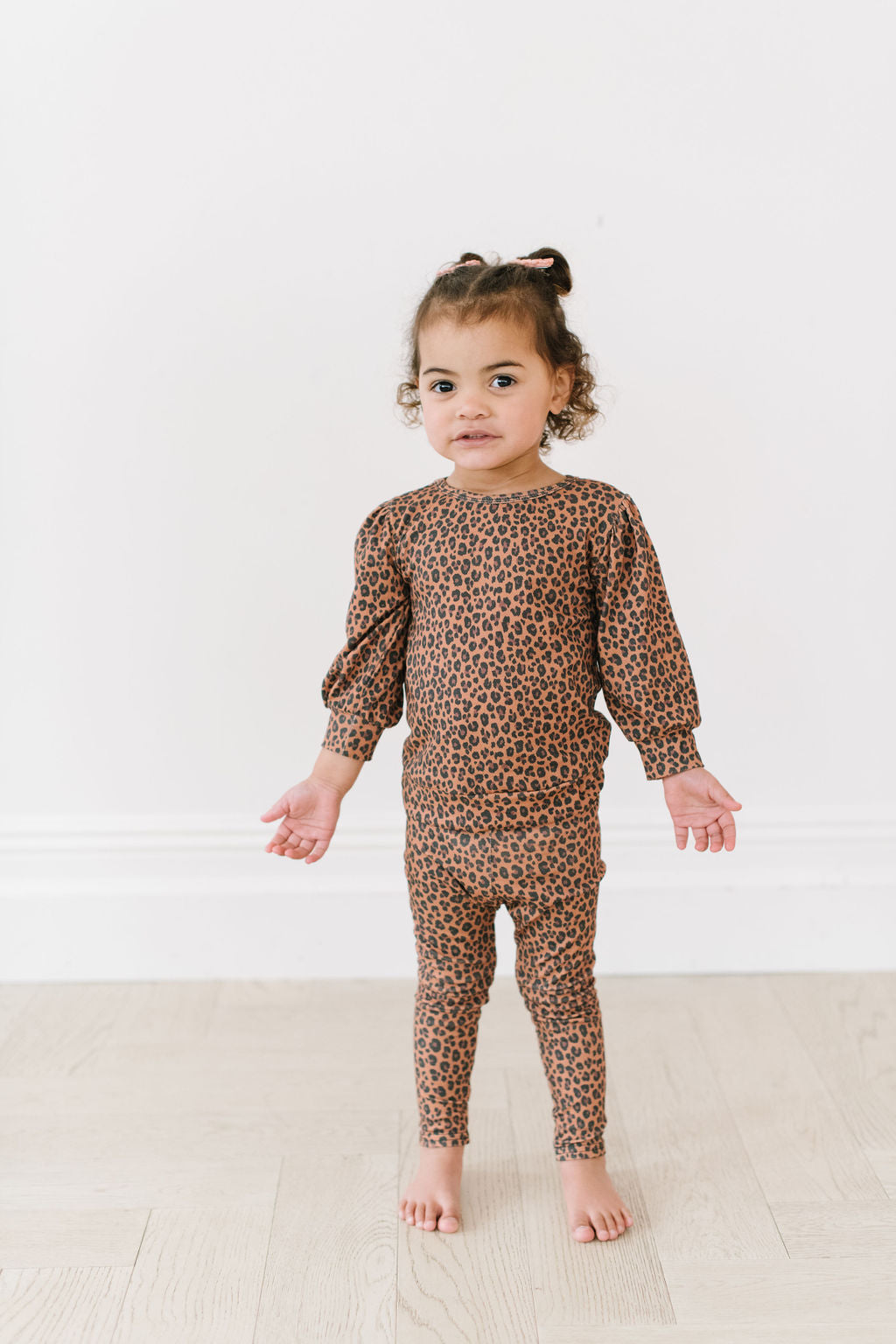 Brown Leopard Puff Sleeve Pullover