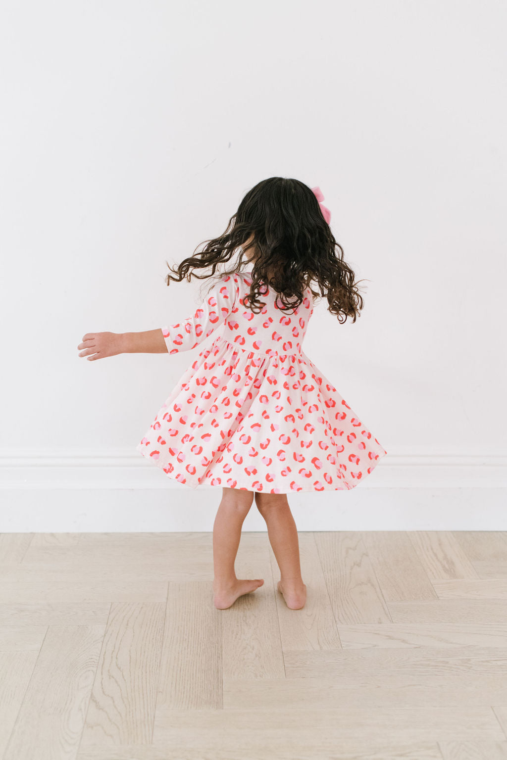 Pink Leopard Three Quarter Sleeve Twirly Dress