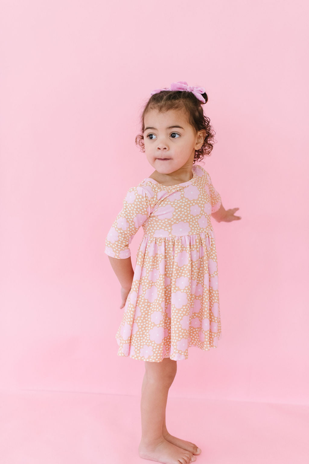 Caramel Daisies Three Quarter Sleeve Twirly Dress