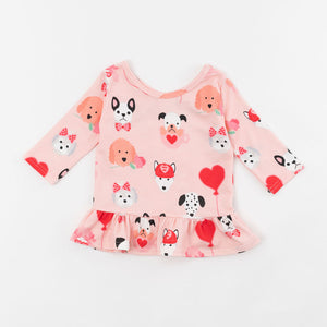 Valentine Puppy Three Quarter Sleeve Peplum Top