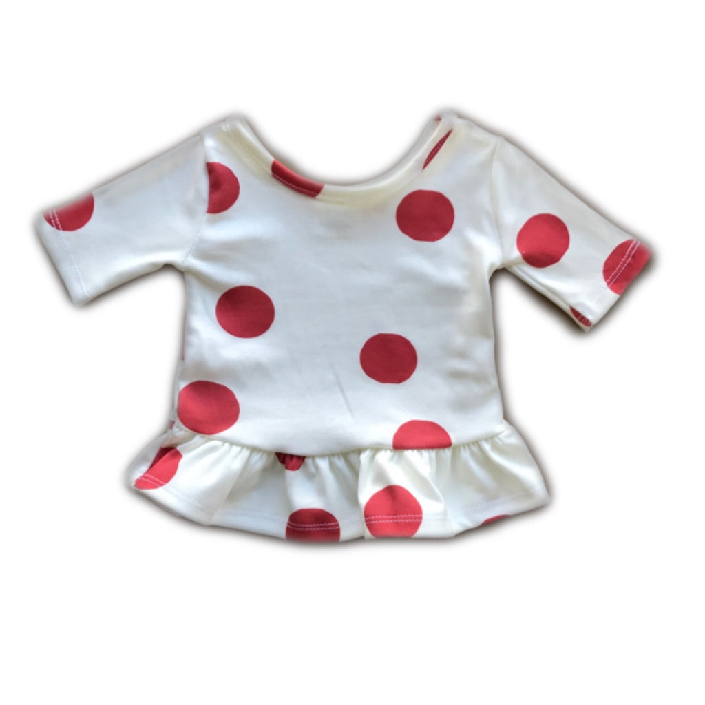 Red Polka Dot Three Quarter Sleeve Peplum Top