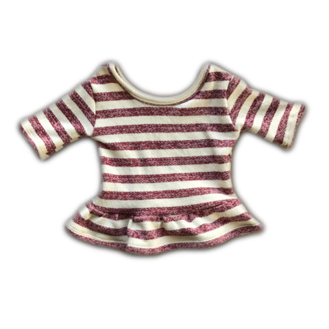 Red Stripe French Terry Three Quarter Sleeve Peplum Top