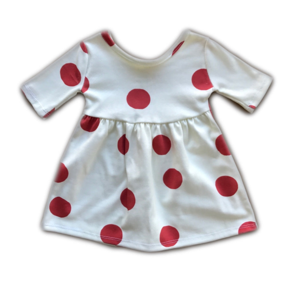 Red Polka Dot Three Quarter Sleeve Swing Dress