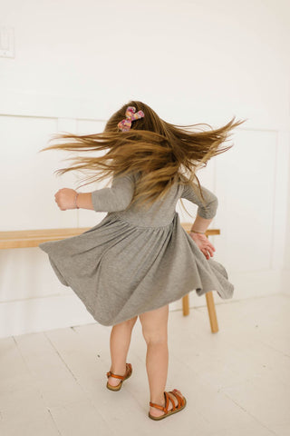 Mid Heathered Grey Three Quarter Sleeve Twirly Dress