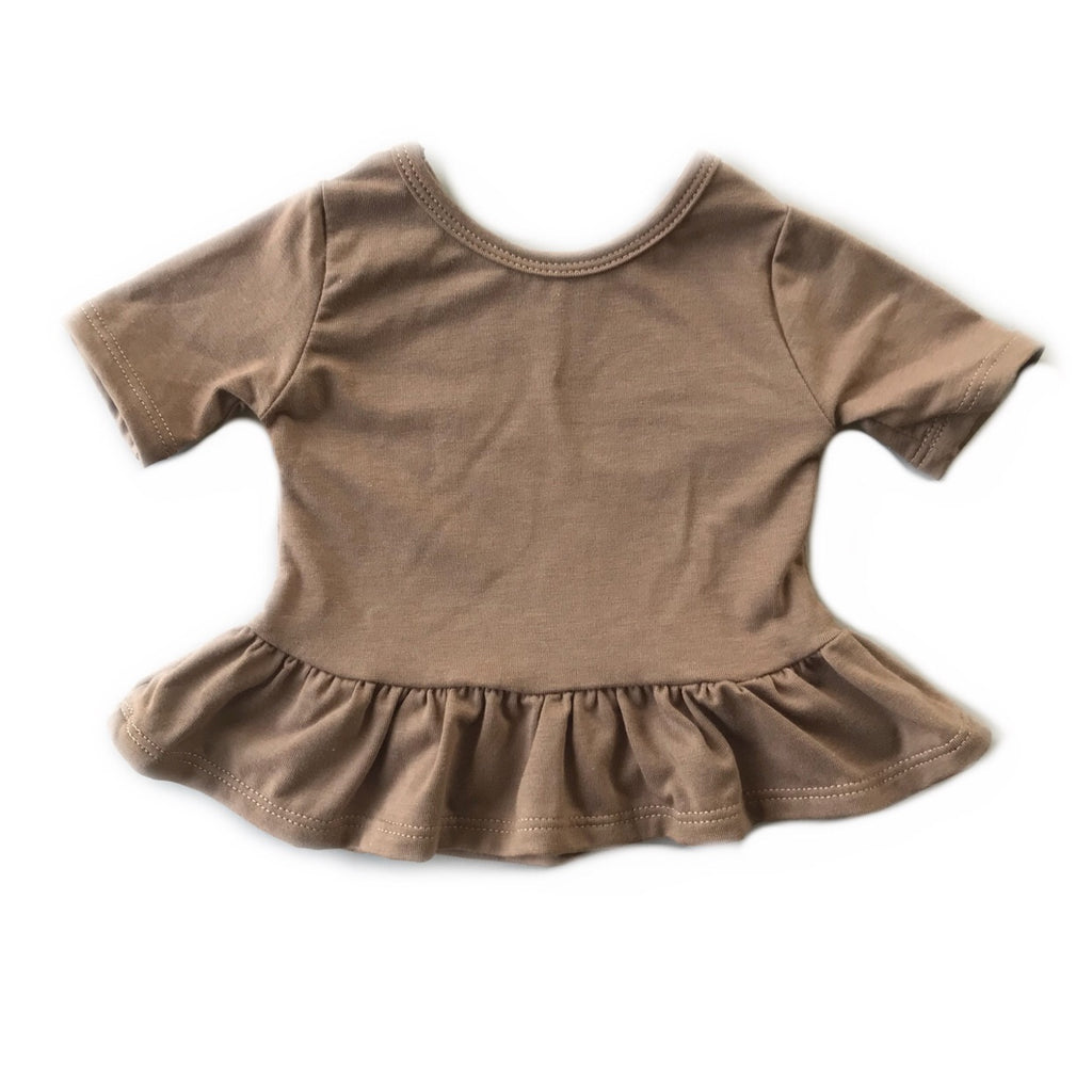 Cocoa Three Quarter Sleeve Peplum Top