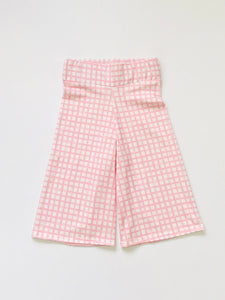Pink Grid Wide Leg Crop Pants