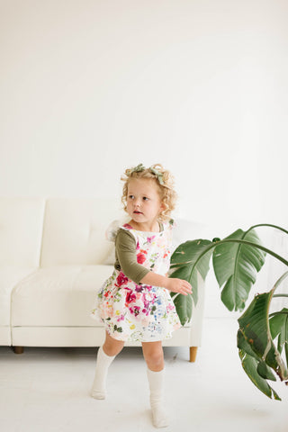 Ruffle Strap Pocket Pinafore in Watercolor Wildflower