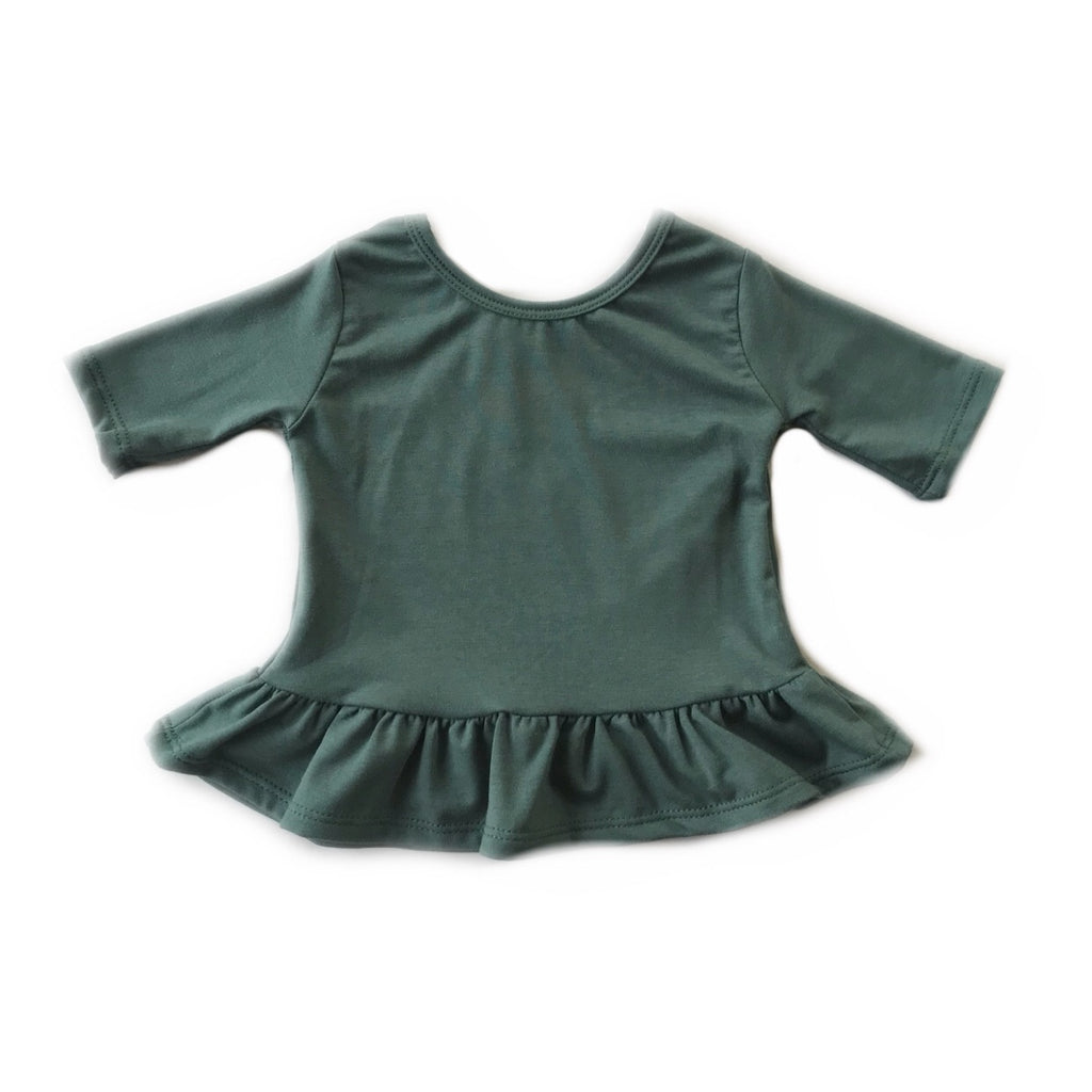 Pine Three Quarter Sleeve Peplum Top