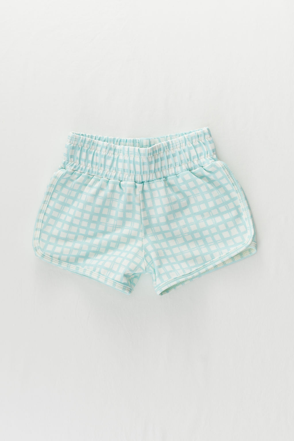 Sky Blue Grid Retro Shorts