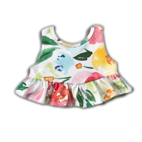 Garden Party Floral Crop Peplum Tank
