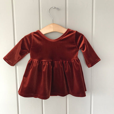 Copper Velvet Three Quarter Sleeve Swing Top