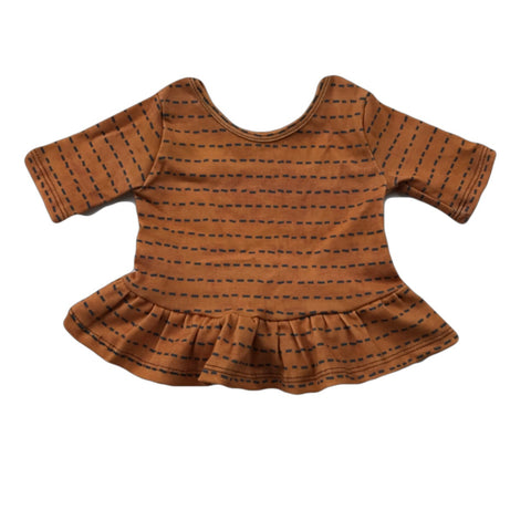 Ochre Dash Three Quarter Sleeve Peplum Top