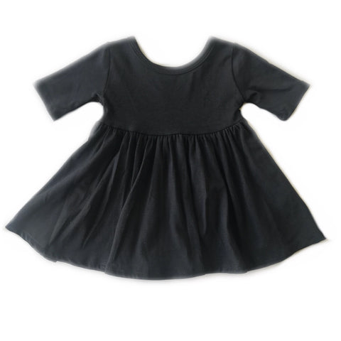 Black Three Quarter Sleeve Twirly Dress