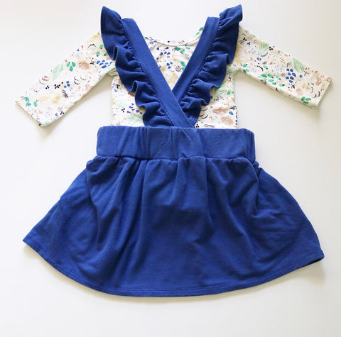 Ruffle Strap Pocket Pinafore in Indigo