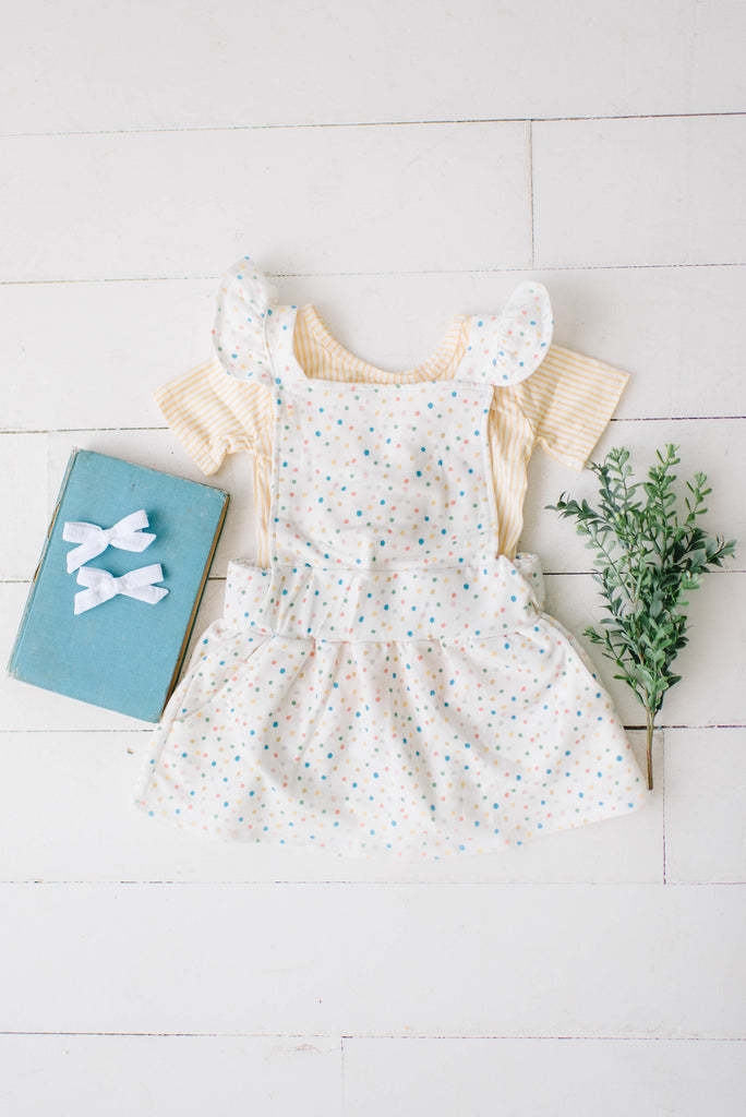 Ruffle Strap Pocket Pinafore in Sprinkle Dot