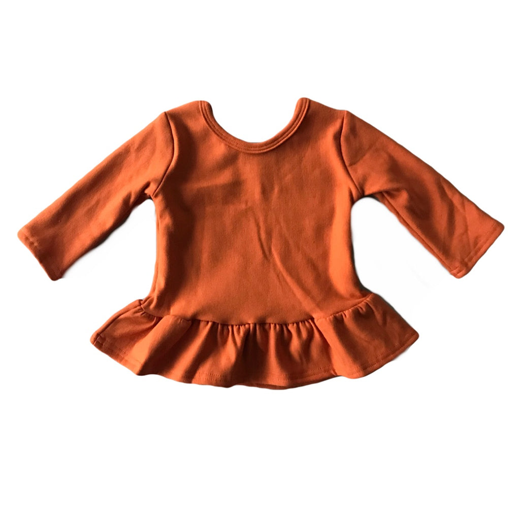 Rust Fleece Peplum Top