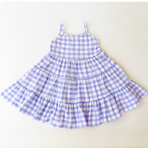 Purple Heather Gingham Three Tier Twirly Dress