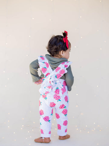 Ruffle Strap Pocket Overall in Black Dot Holiday Floral