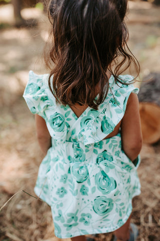 Ruffle Strap Pocket Pinafore in Holiday Rose