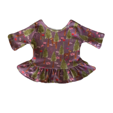Fawn Floral Three Quarter Sleeve Peplum Top