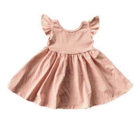 Peach Stripe Flutter Sleeve Twirly Dress