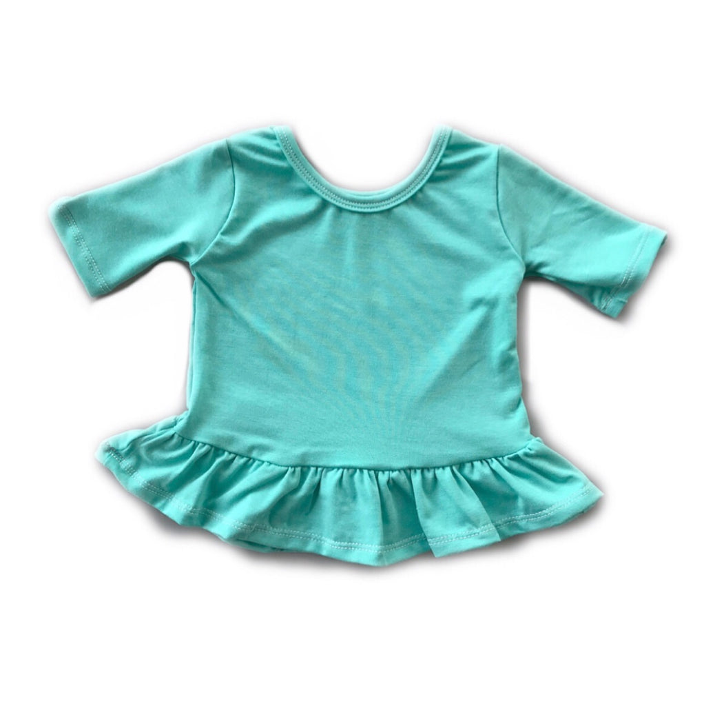 Mint Three Quarter Sleeve Peplum Top