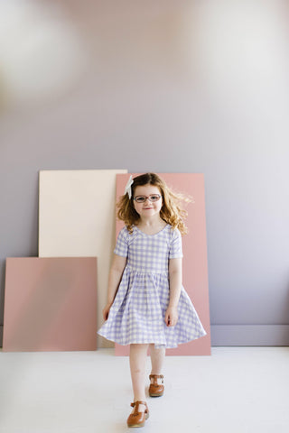 Purple Heather Gingham Short Sleeve Twirly Dress