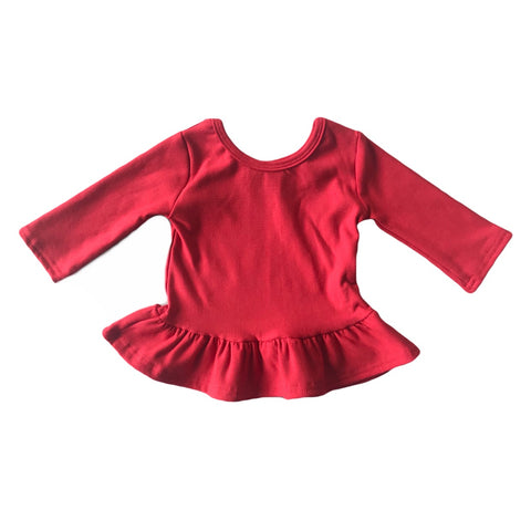Cherry Fleece Peplum Top