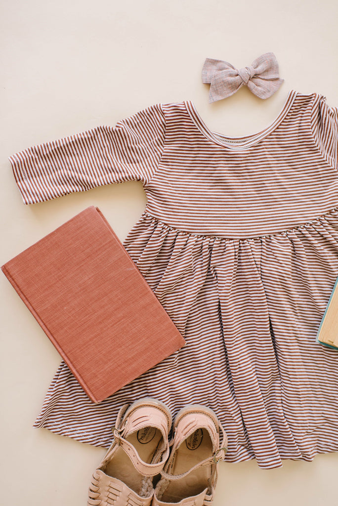 Toffee Stripe Three Quarter Sleeve Twirly Dress