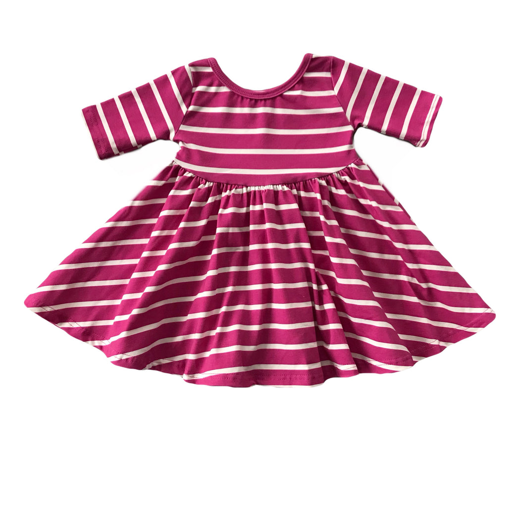 Magenta with White Stripe Three Quarter Sleeve Twirly Dress
