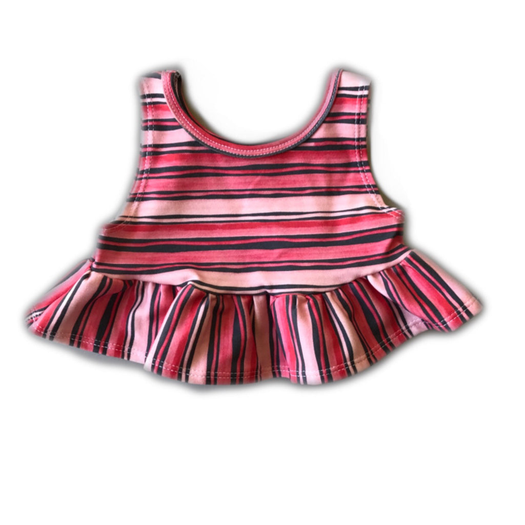 Red and Blue Stripe Crop Peplum Tank